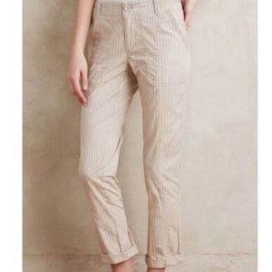 Anthropologie Hei Hei Cream Stripe Chino Pants